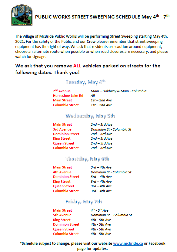PUBLIC WORKS STREET SWEEPING SCHEDULE May 4th - 7th